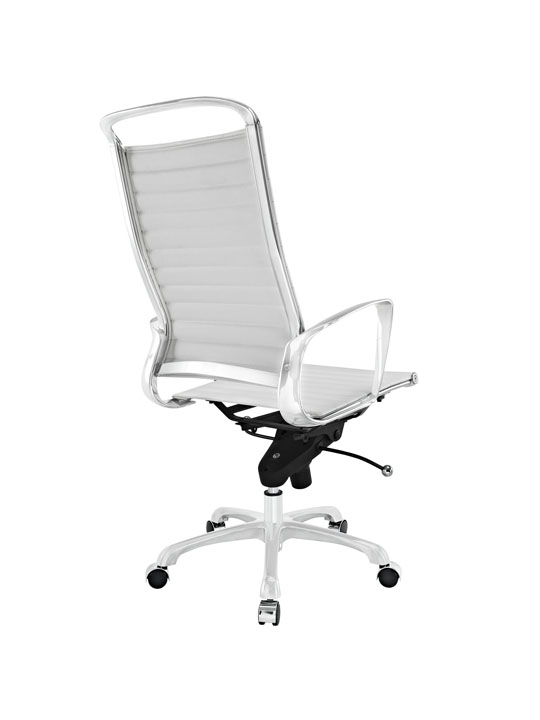 White Leather Instant Planner High Back Office Chair 3