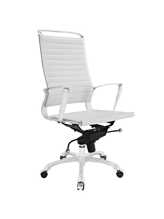 White Leather Instant Planner High Back Office Chair