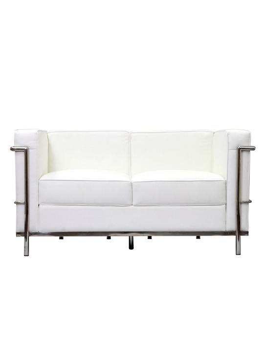 White Simple Medium Leather Loveseat