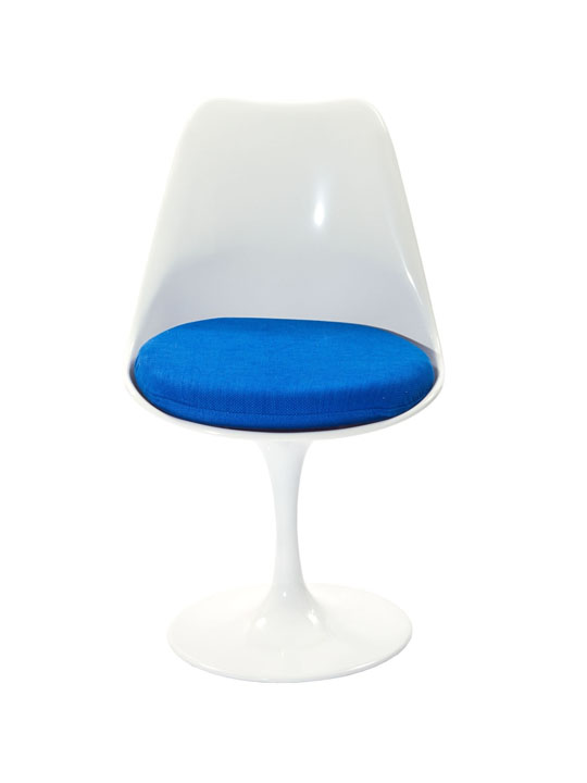 Astro Chair White Shell Blue Cushion 2