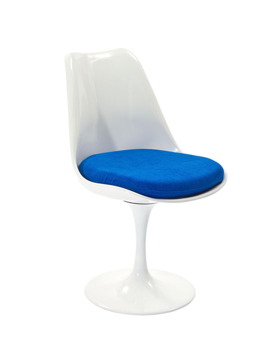Astro Chair White Shell Blue Cushion 3
