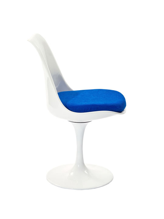 Astro Chair White Shell Blue Cushion 4