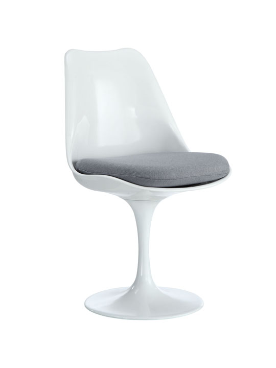Astro Chair White Shell Gray Cushion