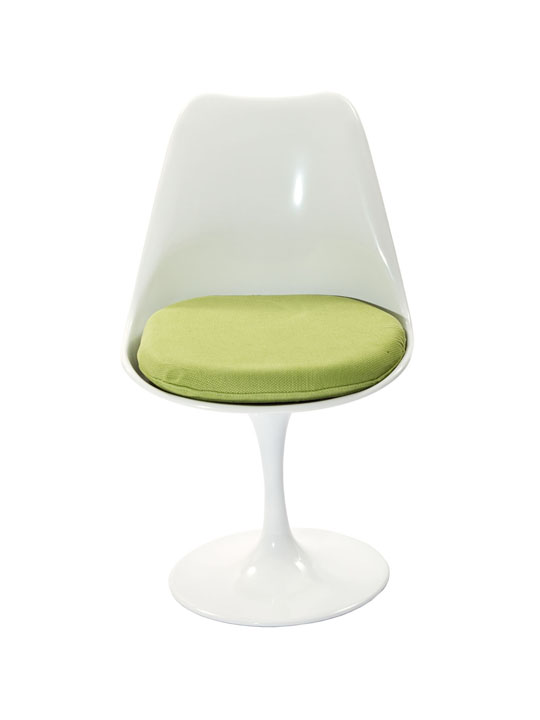 Astro Chair White Shell Green Cushion