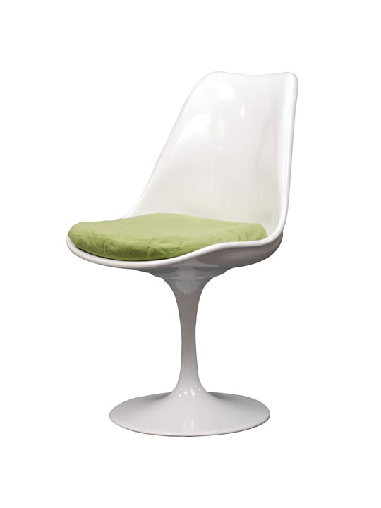 Astro Chair White Shell Green Cushion 5