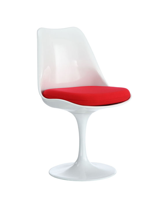 Astro Chair White Shell Red Cushion