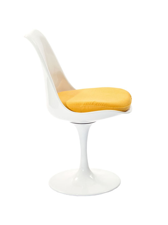 Astro Chair White Shell Yellow Cushion 3