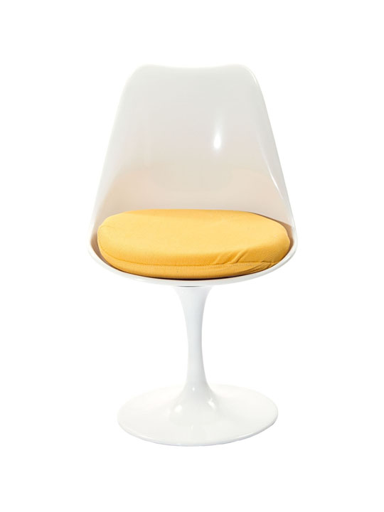 Astro Chair White Shell Yellow Cushion
