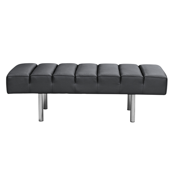 Black Leather 2 Seater Paragon Bench 2