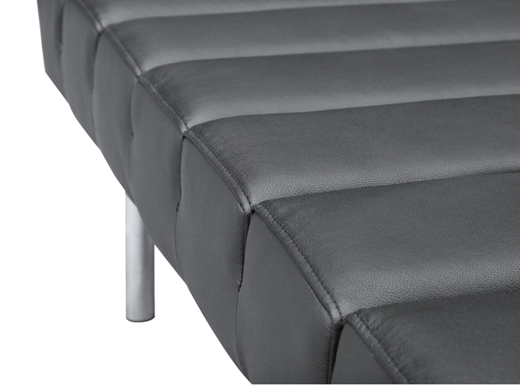 Black Leather 2 Seater Paragon Bench 3