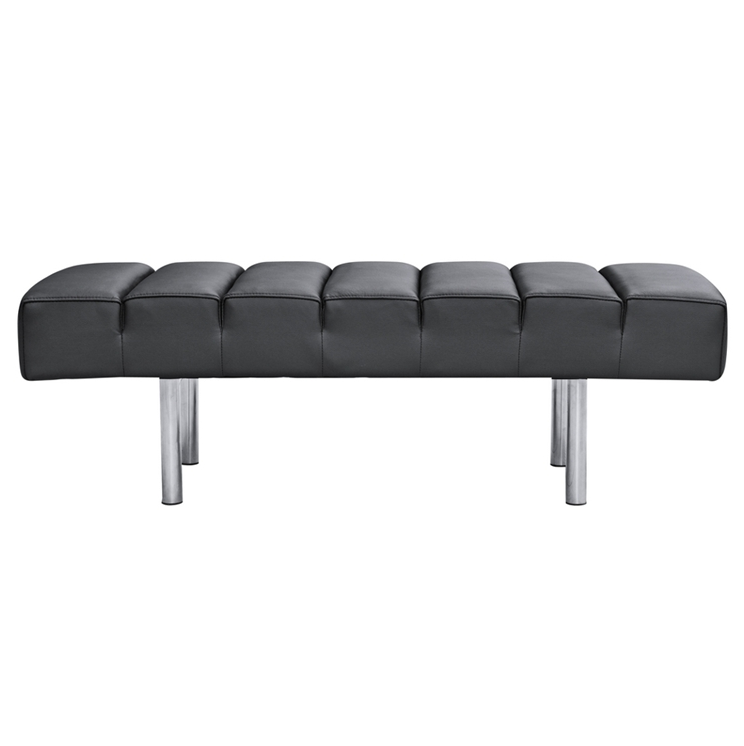 Black Leather 2 Seater Paragon Bench