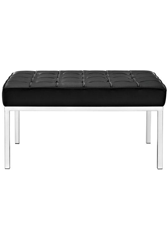 Black Leather Gallery Bench Medium 2