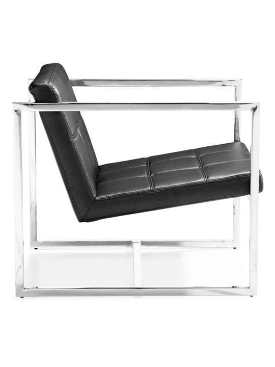 Black Leather Luxe Lounge Chair 2