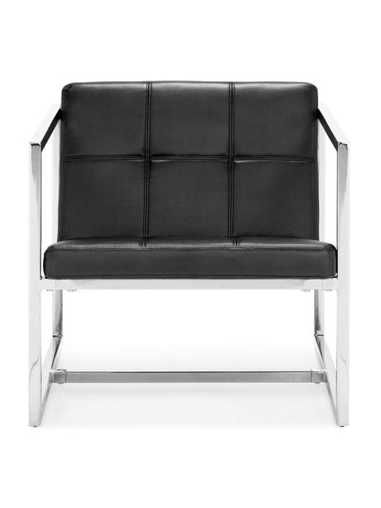 Black Leather Luxe Lounge Chair 3
