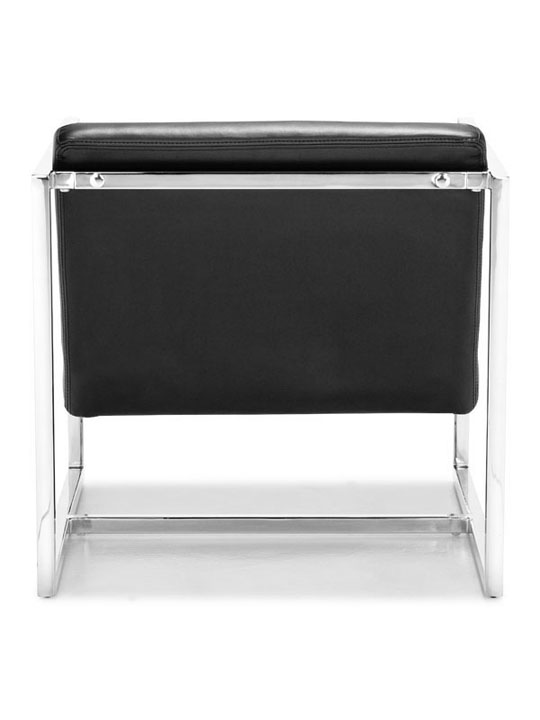 Black Leather Luxe Lounge Chair 4