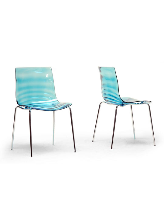 Blue Lucite Tide Chair