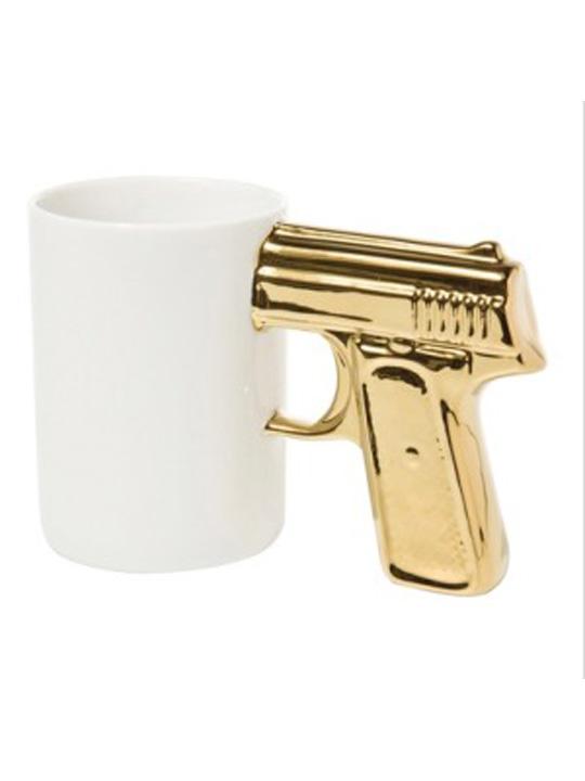 Gun Mug White Gold