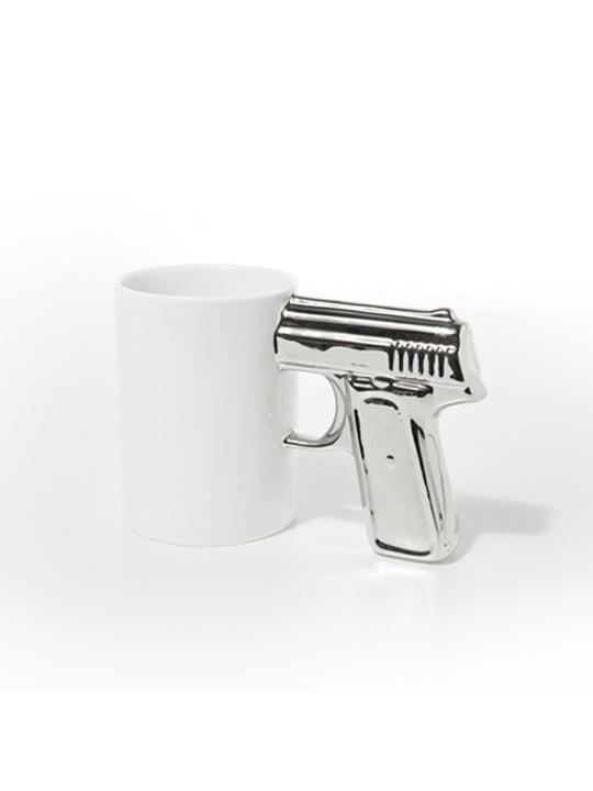 Gun Mug White Silver