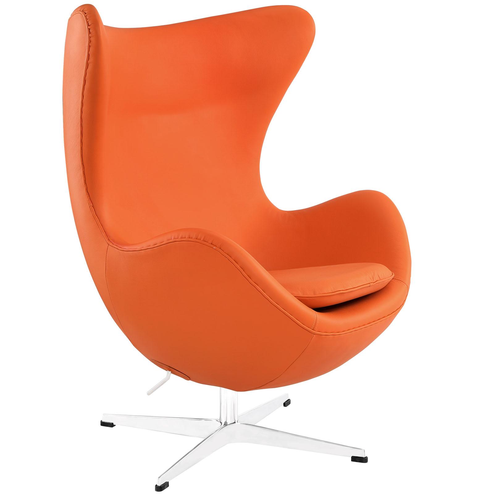 Magnum Orange Leather Accent Chair