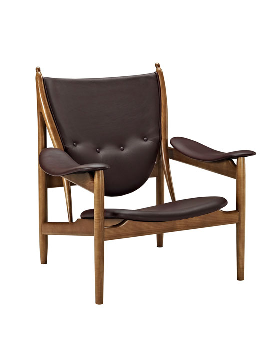 Noveau Leather and Wood Armchair