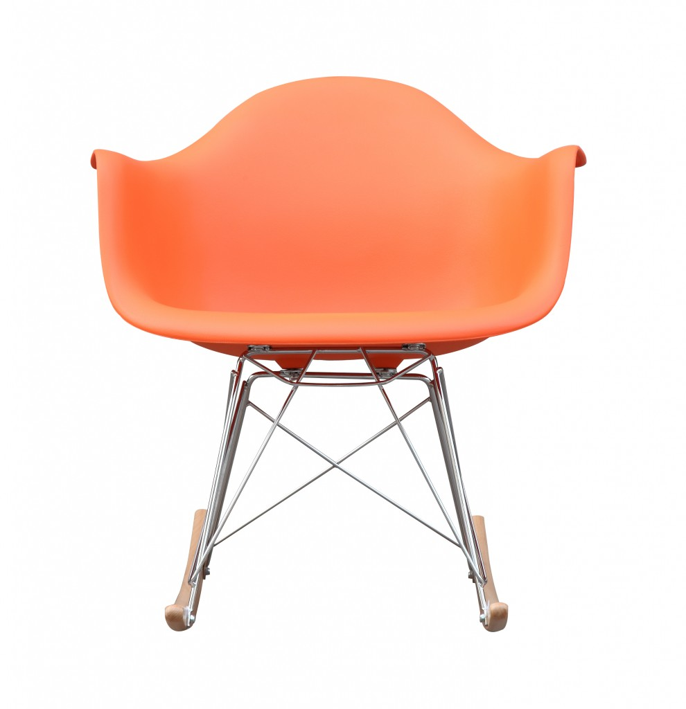 Orange Mid Century Rocking Chait Dock Rocker
