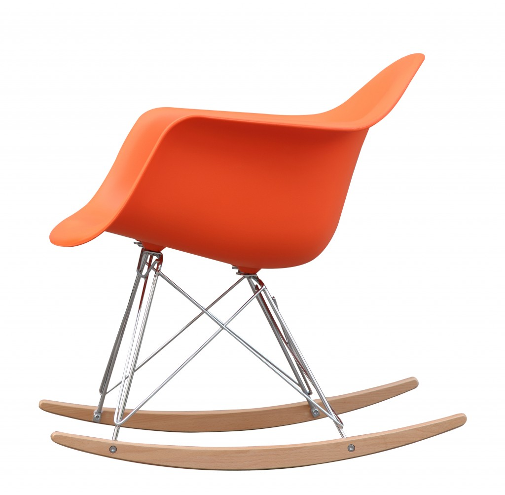Orange Mid Century Rocking Chait Dock Rocker 2