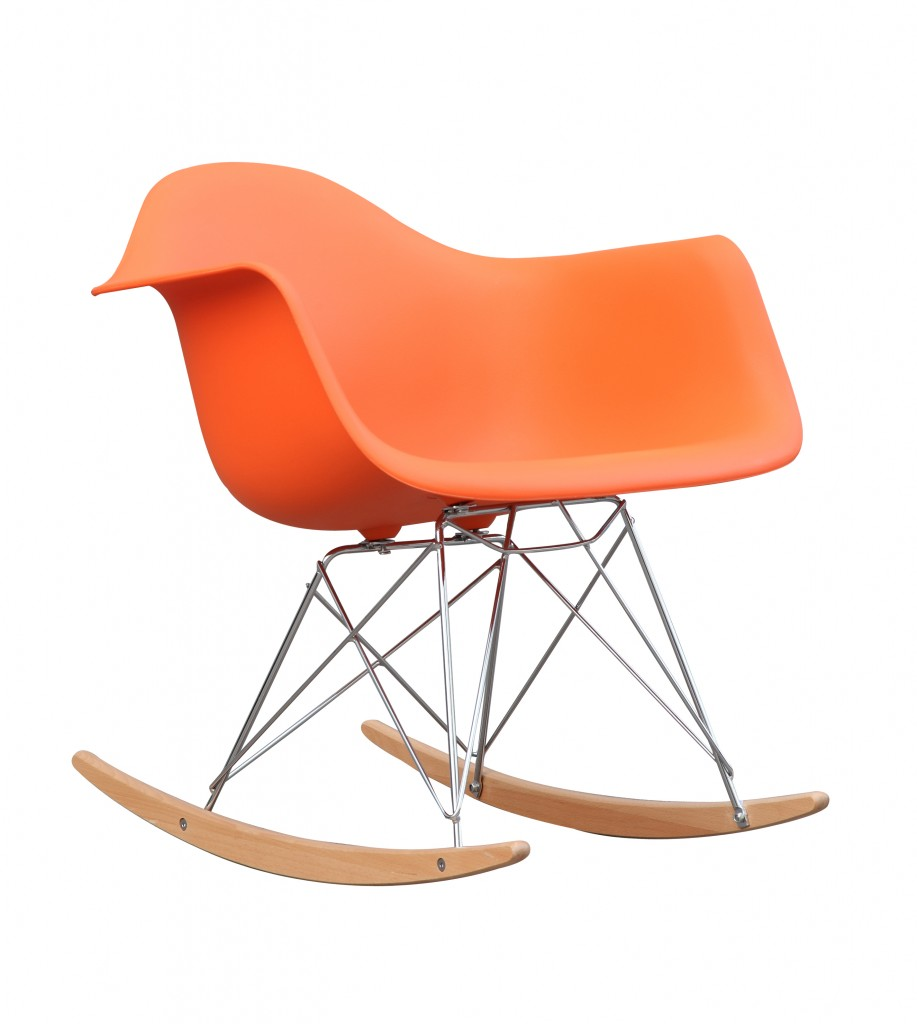 Orange Mid Century Rocking Chait Dock Rocker 4