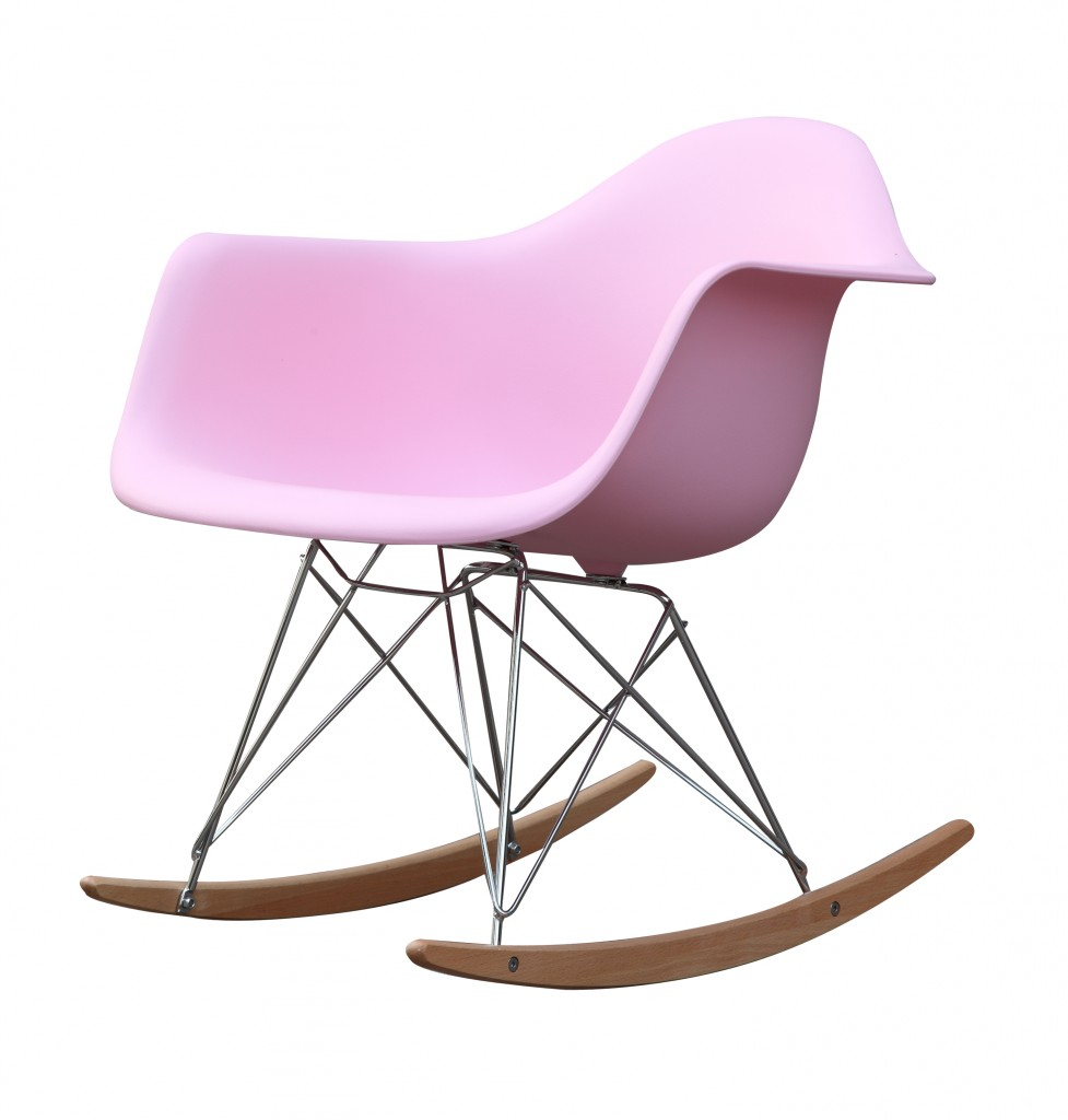 Pink Mid Century Rocking Chait Dock Rocker 2