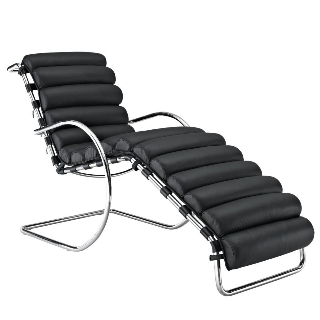 Plush Chaise Lounge Chair Black 5