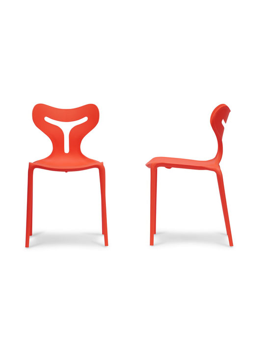 Red Plastic Y Chair 3