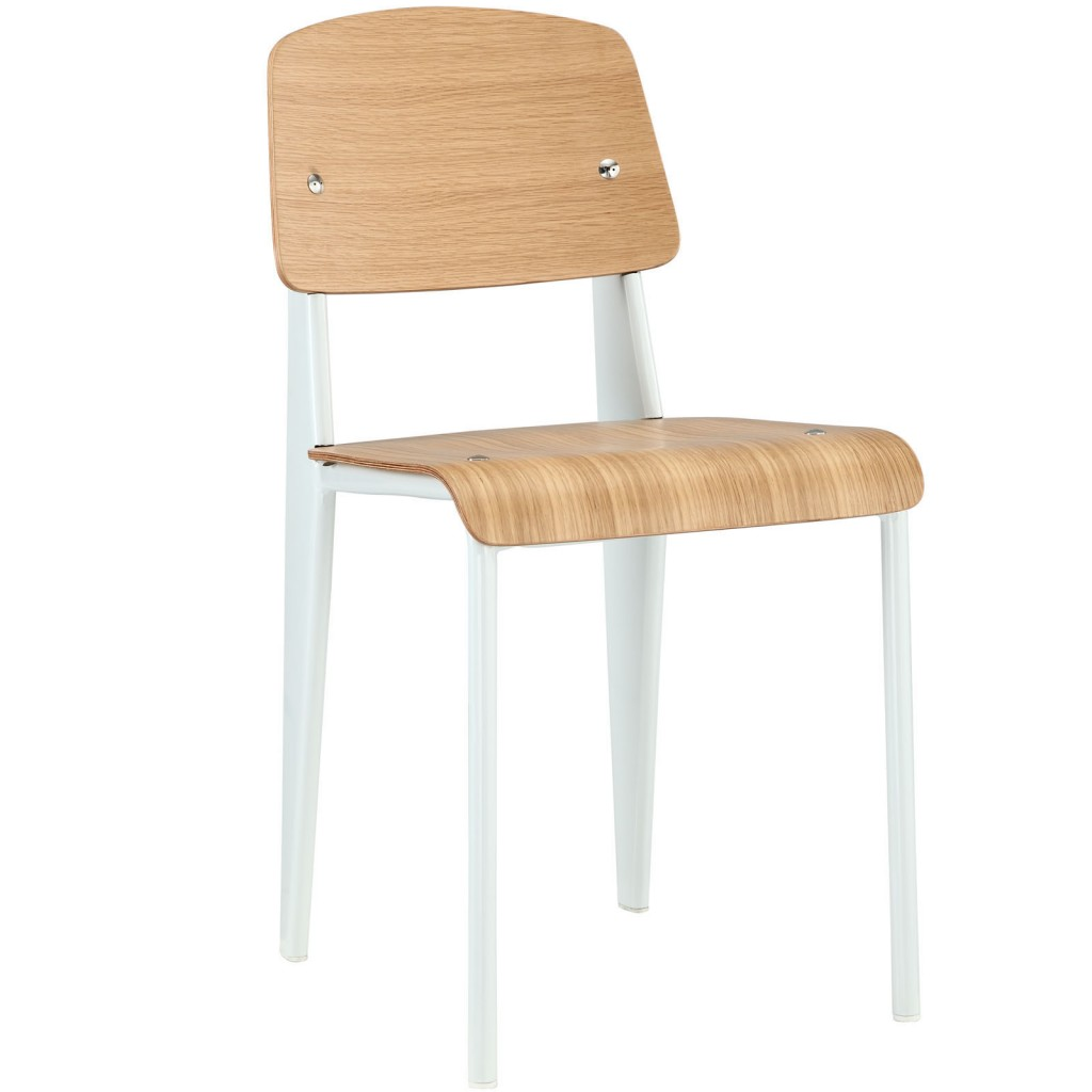 Standard Chair Natural Wood White Base