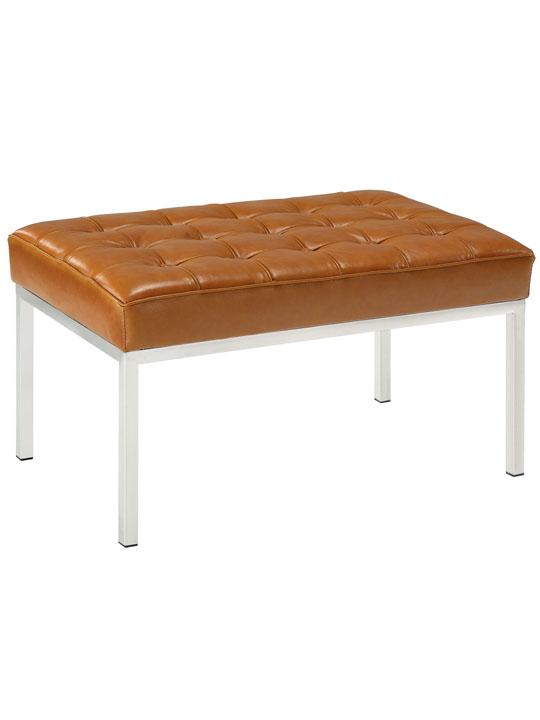 Tan Leather Gallery Bench Medium