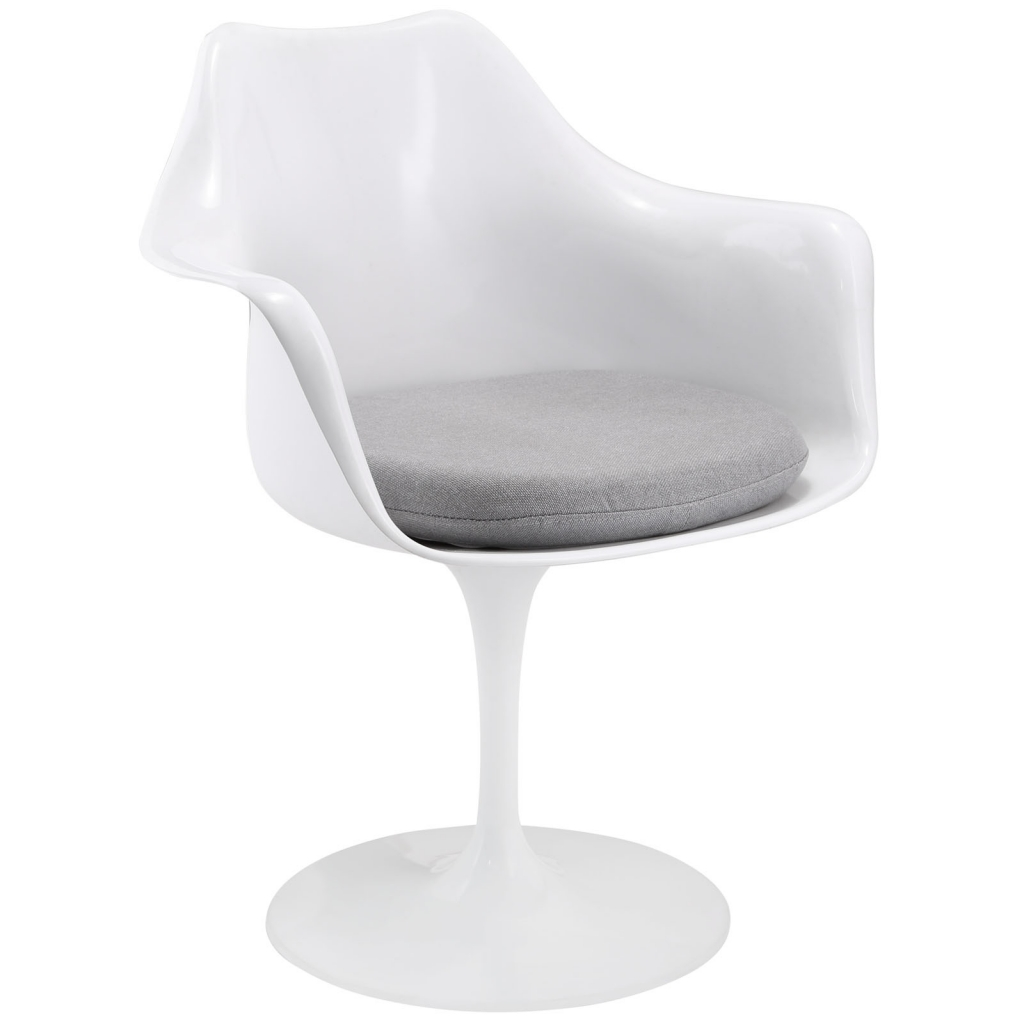 White Astro Armchair Gray Cushion