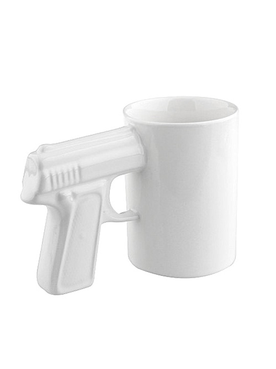 White Gun Mug White Handle