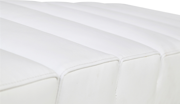 White Leather 2 Seater Paragon Bench