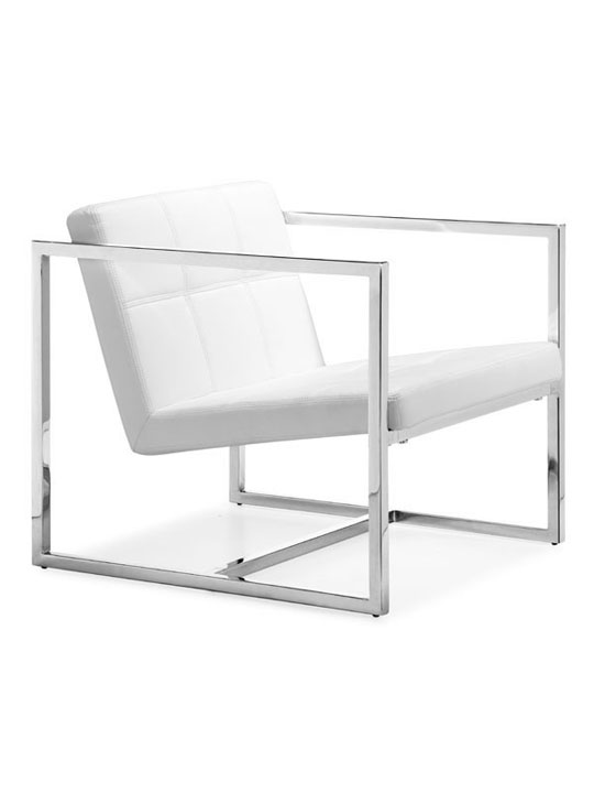 White Leather Luxe Lounge Chair 4