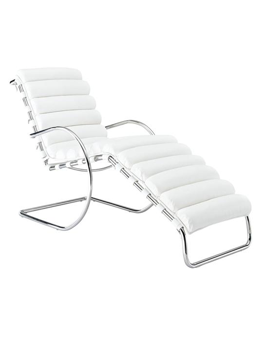White Plush Chaise Lounge