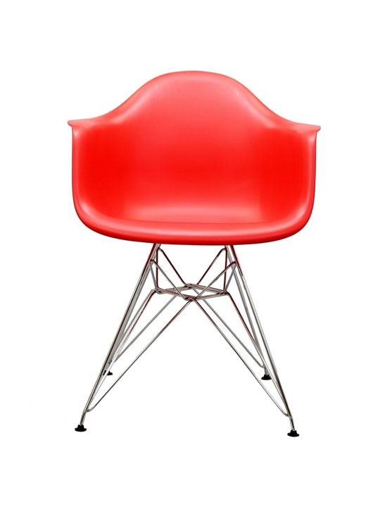 Wire Chrome Chair Red 1