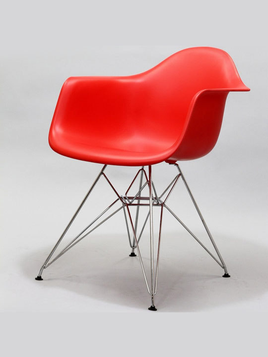 Wire Chrome Chair Red 2