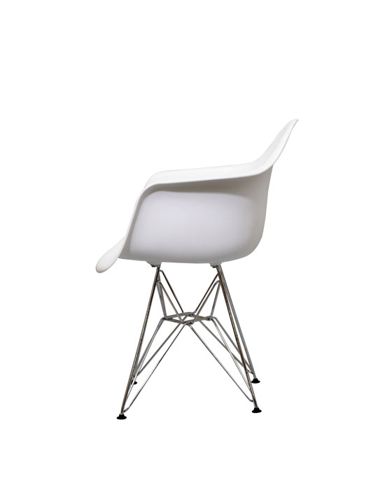 Wire Chrome Chair White 1