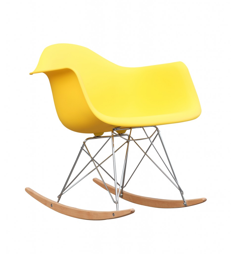 Yellow Mid Century Rocking Chait Dock Rocker 1