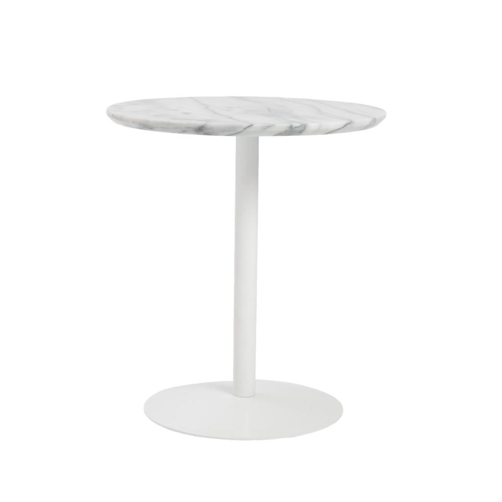 York Marble End Table White Base 2