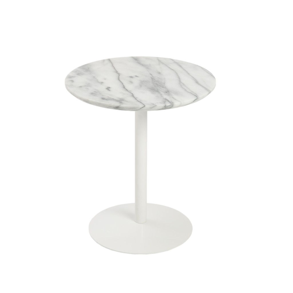 York Marble End Table White Base 3