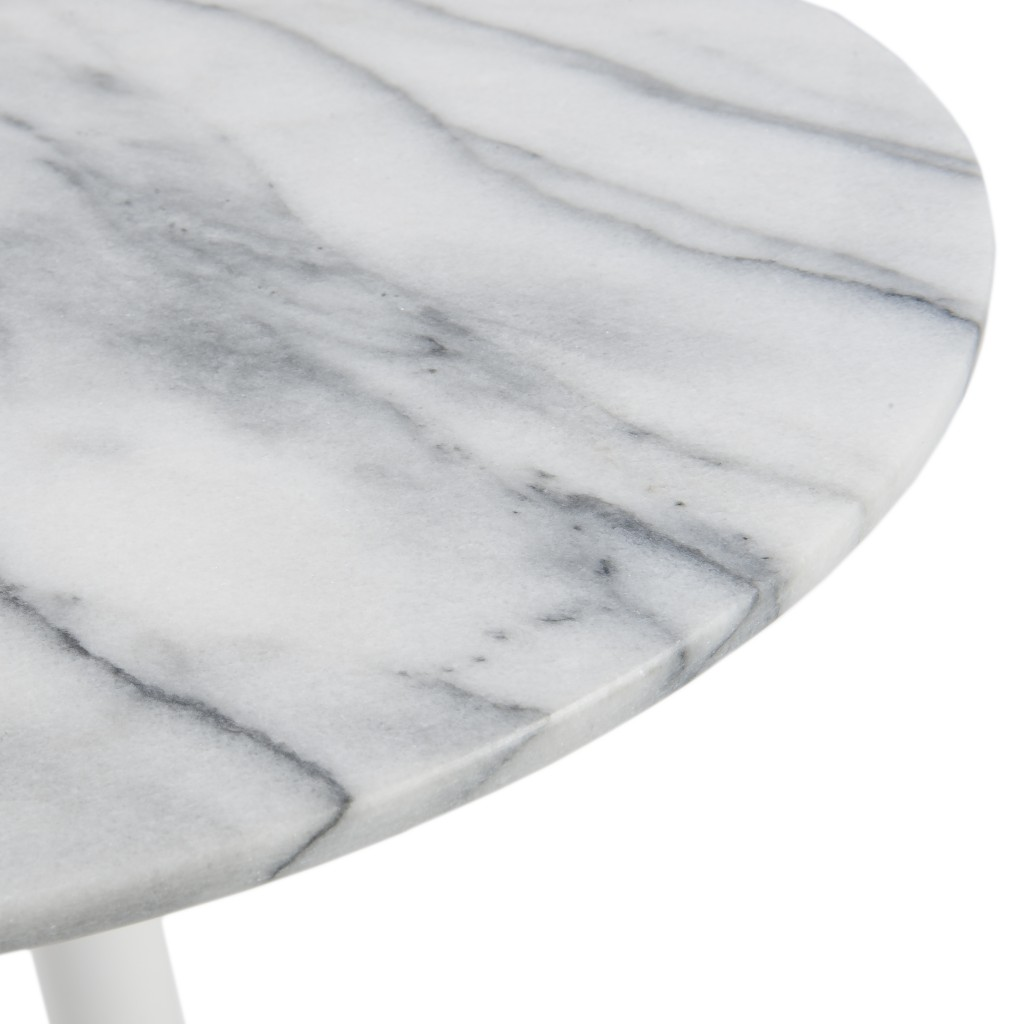 York Marble End Table White Base