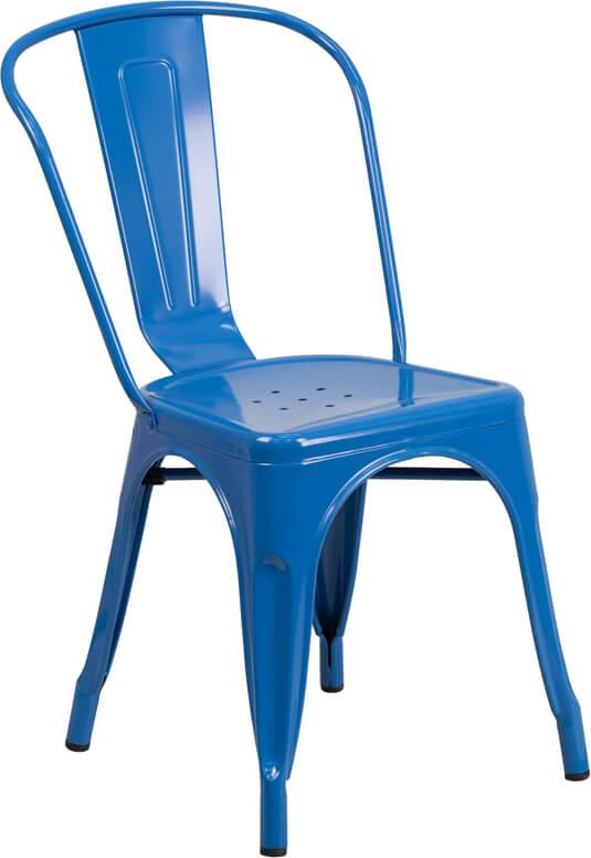 blue metal restaurant chair
