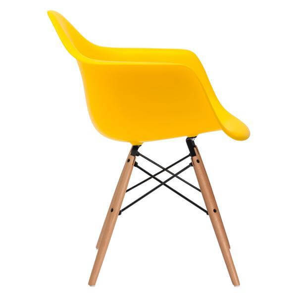 eames wood armchair yellow