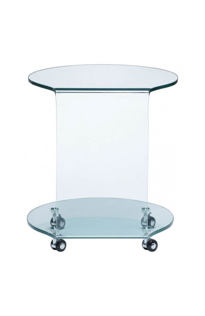 glass rolling accent table