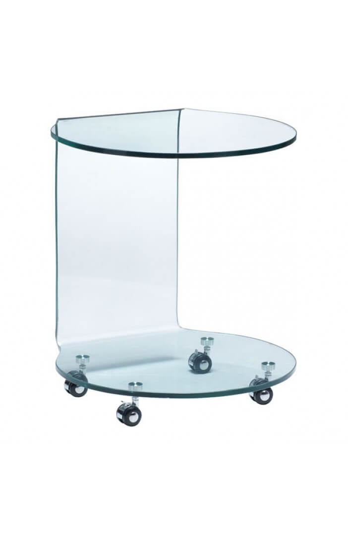 glass rolling side table