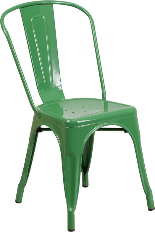green metal restaurant chair