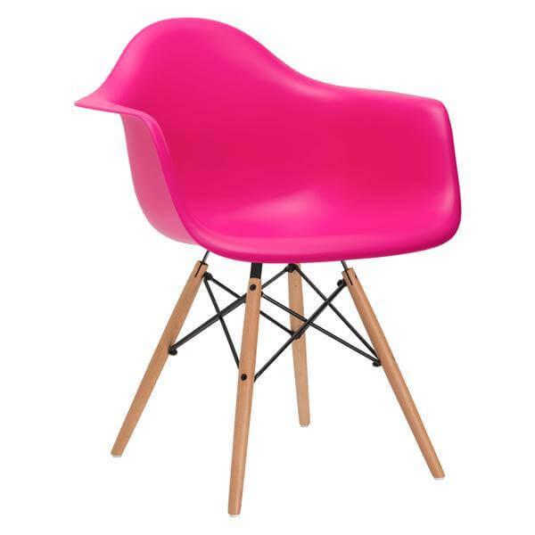 pink armchair mid century